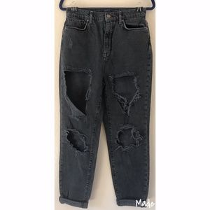 UO BDG High Rise Mom Jeans Black Distressed (27)